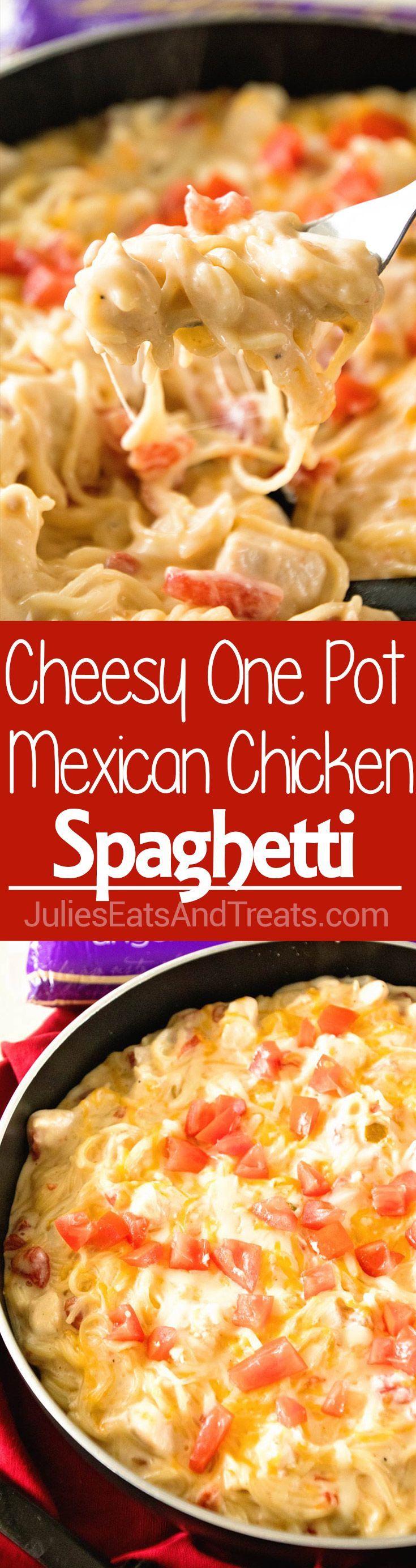 One Pot Mexican Chicken Spaghetti ~ Delicious One Pot Pasta Recipe with Mexican Flavor! Creamy, Mexican Chicken Spaghetti Recipe with a Kick is on the Table in 30 Minutes! via @julieseats @DaVinciPasta, #EndlessPastabilities #PastaPersonalitiesju