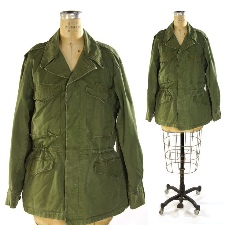 1950s Army Field Jacket / Vintage Military Issue Field Coat / USA / Green Cotton / M-1950 by SpunkVintage