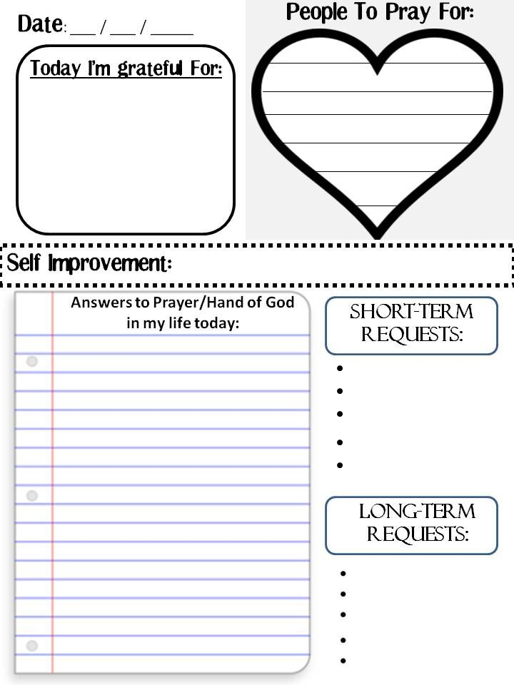 Prayer Journal Template.  Great way to organize your thoughts and keep your prayers focused and sincere