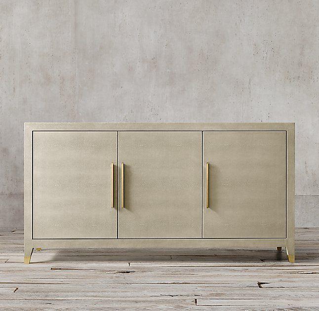 Sideboard Beige graydon shagreen panel 4 door sideboard living room 1