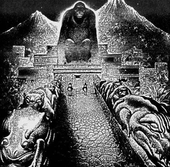Concepto artístico de «La Ciudad Perdida del Dios Mono» según lo relatado por Theodore Morde. Publicado originalmente en The American Weekly, 22 de septiembre de 1940.