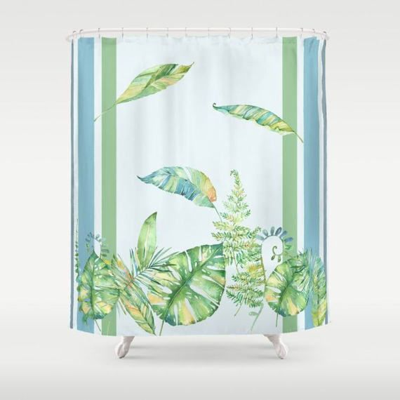 Greenery Shower Curtain  watercolor foliage by ArtfullyFeathered