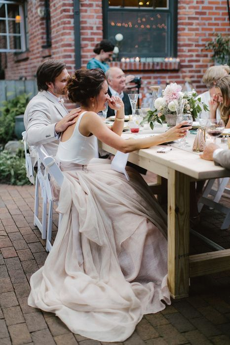 Beautifully simple yet elegant wedding dress for farm to table reception dinner.