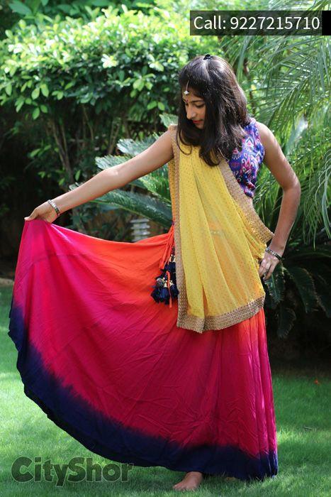 Navratri Special Pink, Orange and Yellow Cotton Sleeveless Lehenga Choli #NavratriLehenga