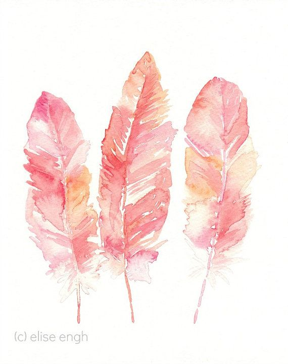Coral and Pink Feathers, Watercolor Giclee Print, 8x10