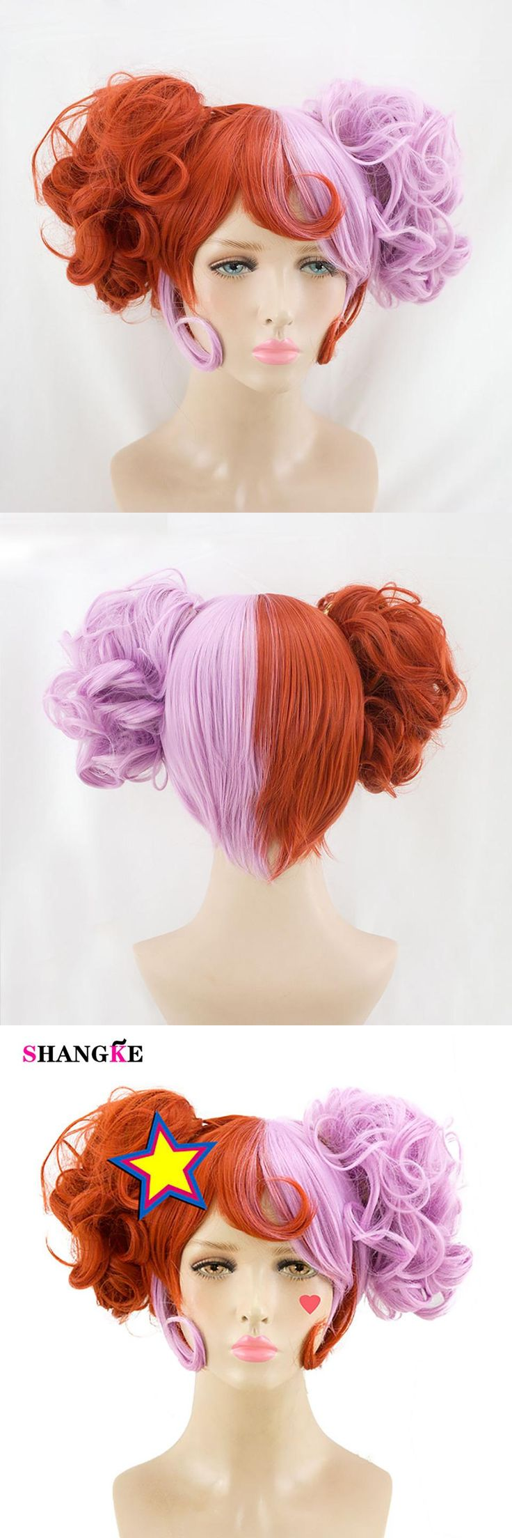 SHANGKE Two-color Wigs Double Ponytail Wigs Synthetic Costumes Hair Halloween Party High Temperature Fiber Cosplay Wig