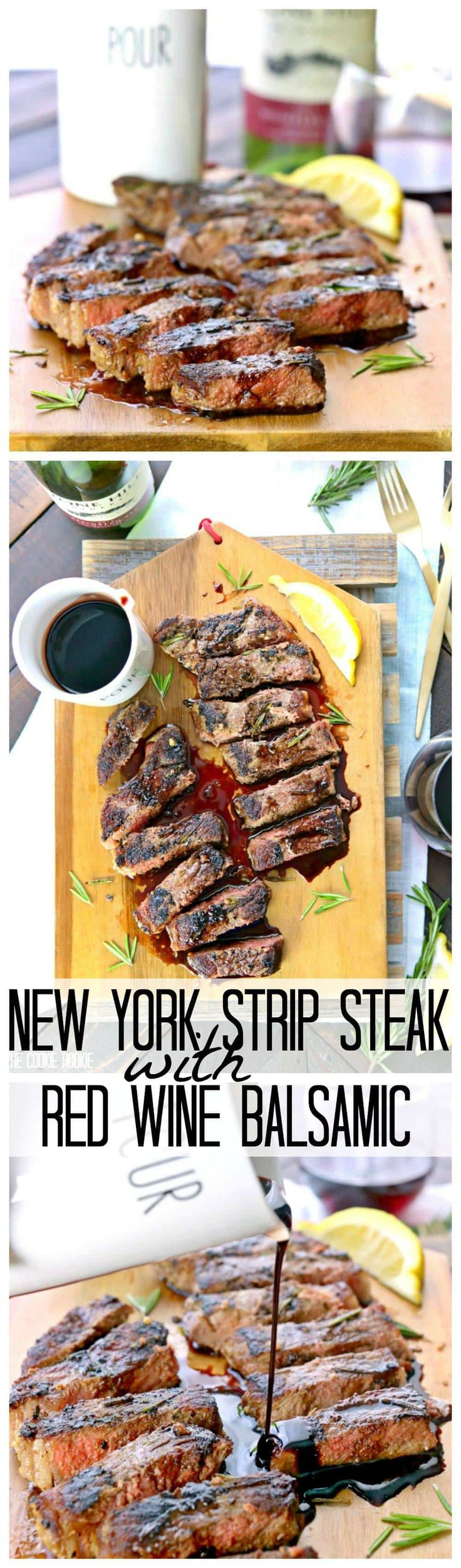 Seared New York Strip Steak with Red Wine Balsamic Reduction! Eat like a King or Queen at home with this easy and quick DELICIOUS dinner. THE BEST STEAK EVER.