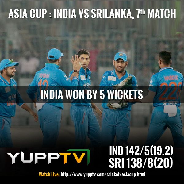 #INDvsSL: India won and goes straight to FINALS. A brilliant knock of 56 and 51 run partnership with Yuvraj Singh, Virat does it again.With this Virat Kohli equals the record for most fifties (13) in T20Is. Catch the tomorrow's match #BANvsPAK live on #YuppTV #AsiaCupOnYuppTV Watch live @ http://www.yupptv.com/cricket/asiacup.html