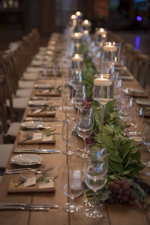 Long Wedding Reception Table With Greenery Table Runner And