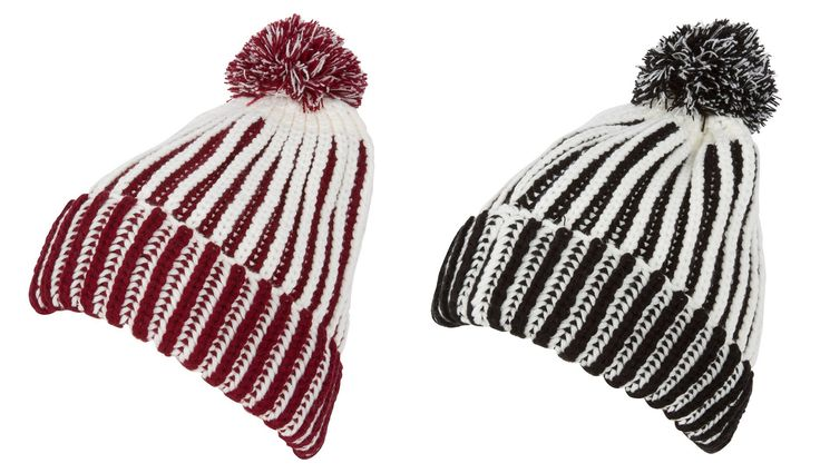 Features striped knit design with contrast color inside. Stretchable acrylic material. #hat #trilby #shop #sale #caps #mens #womens #cool #hats #men #caps #world #ladies #summer #styles #spring #baseball #flat #mens #women #men #straw #fedora #store #winter #hats #crochet #floppy #cute #pompom #stylish #warm #knitted