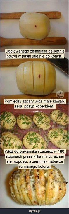Ziemniaczany przysmak - Ugotowanego ziemniaka delikatnie pokrój w paski (ale nie do końca).         Pomiędzy szpary włóż małe kawałki sera, posyp koperkiem.          Włóż do piekarnika i zapiecz w 180  stopniach przez kilka minut, aż ser się rozpuści, a ziemniak nabierze rumianego koloru.
