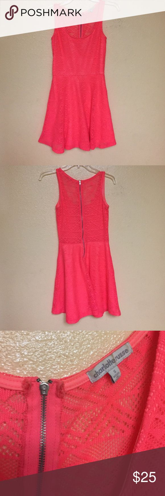 Bright pink dress Perfect summer dress, beautiful color. Worn once. Charlotte Russe Dresses