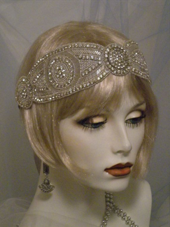 1920's Headpiece,Flapper Headband, Gatsby,Downton Abbey, Old Hollywood, Vintage style,Silver,Rhinestones, No. 400