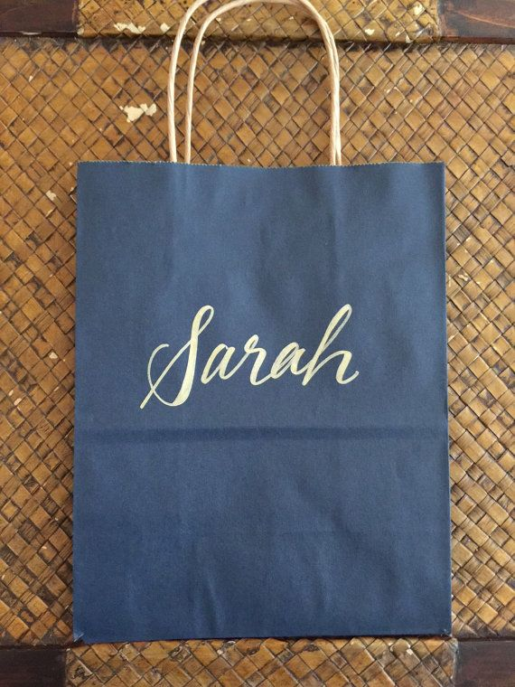 Personalized Gift Bag Gold and Navy Hand-lettered by PenandLetter