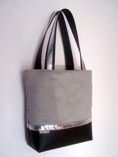 sac cabas en suédine grise alcantara et simili noir : Sacs à main par au-fil-de-syl