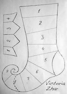 Iris folding elf stocking pattern
