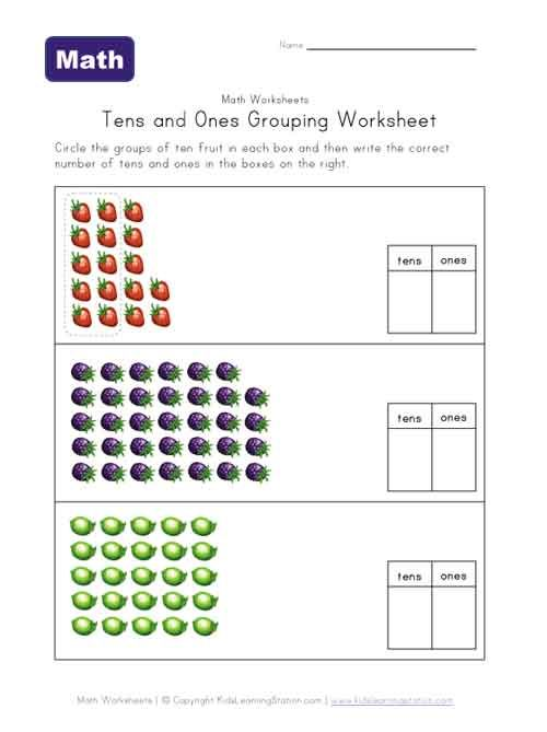 tens ones grouping fruit worksheet h yearwood pinterest math fruit and worksheets. Black Bedroom Furniture Sets. Home Design Ideas