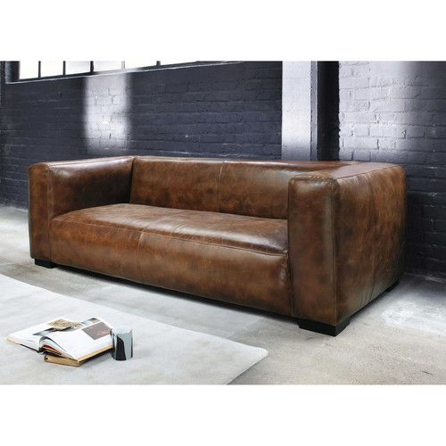 3/4 seater leather sofa in brown