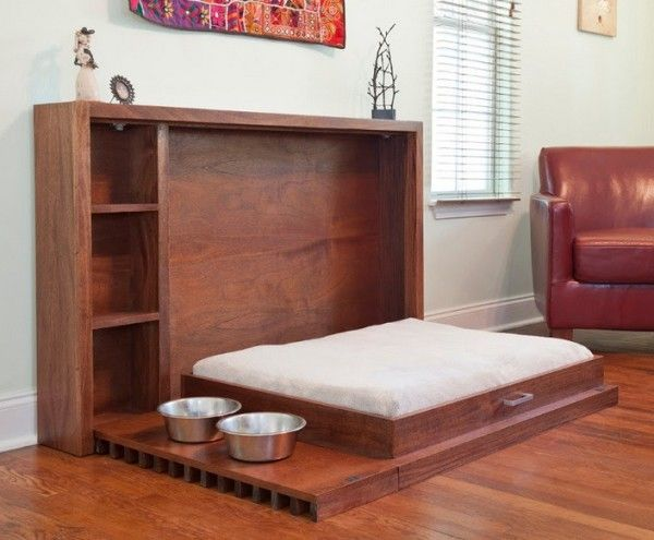 Tiny house? Big dog? This is the perfect thing. A dog Murphy bed! Stores bed and bowls out of the way.