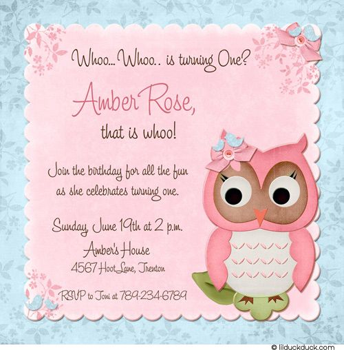 Whoo Blue & Pink First Birthday Owl Card