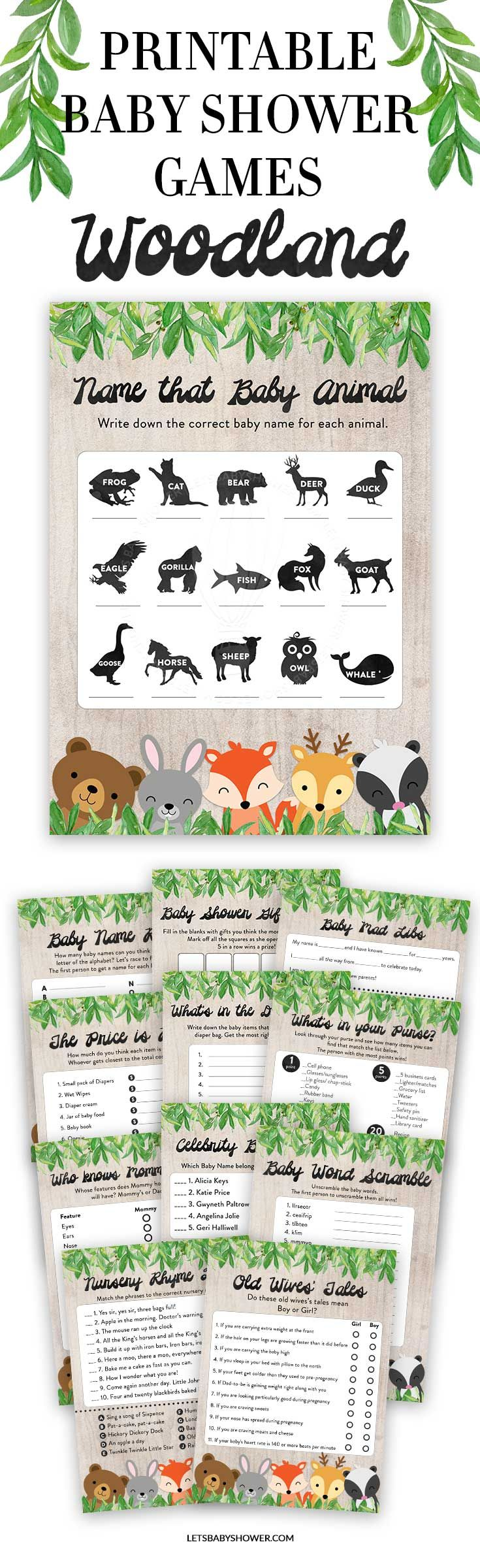 Looking for a Baby Shower theme for boys? Here's one of the baby shower ideas your guests will surely enjoy. Printable Woodland Baby Shower Games for Boys