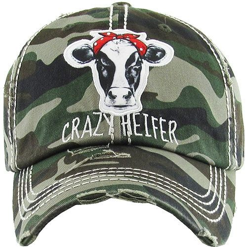 068c7f17c55775 Crazy Heifer Distressed Camo Hat, Crazy Heifer Hat, Crazy Heifer Cap ...