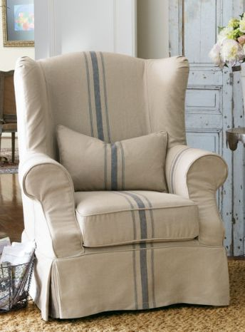 Love this slip covered chair! Want my living room sofa and chair slip covered like thIs! by Dear Lillie