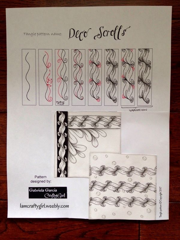 """Tangle pattern """"Deco Scrolls"""" by Gabriela Garcia """"CraftyGirl"""" visit blog post for more step outs, tips and examples"""
