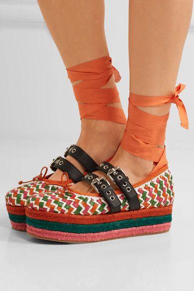 Miu Miu - Lace-up Woven Leather Platform Espadrilles - Orange - IT39.5