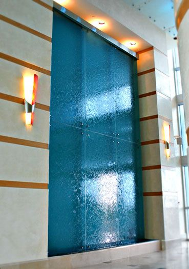 Waterfall Wall Fountain In A Lobby Of Residential Building