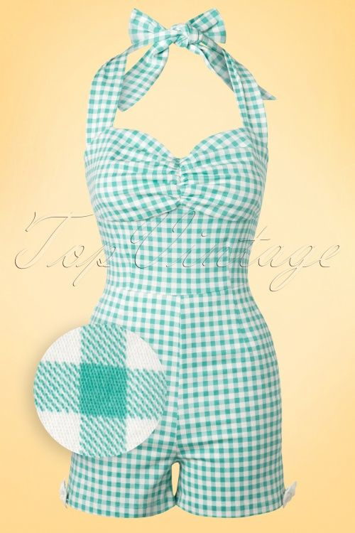 Collectif Cloting Kimmy Gingham Mint Playsuit 17674 20151117 0009WV