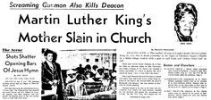 "An article about the murder of Alberta King, published in the Boston Herald (Boston, Massachusetts), 1 July 1974, page 1. Read more on the GenealogyBank blog: ""Dr. Martin Luther King Jr: A Brief Genealogy & Family Tree."" https://blog.genealogybank.com/dr-martin-luther-king-jr-a-brief-genealogy-family-tree.html"