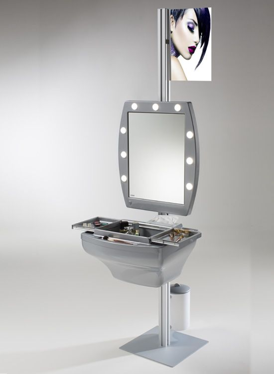 LIGHTED STAND ALONE MAKE UP STATION. Professional make up stations. Cantoni for for professional make up artists always on the move, also to set up make up areas in salons, shops  or department stores. Lighted with 9 led light spots adjustable brightness, table with working area and false bottom storage zone, stand alone reed in aluminium and aluminium base. #makeupstations #lightedstand #professional