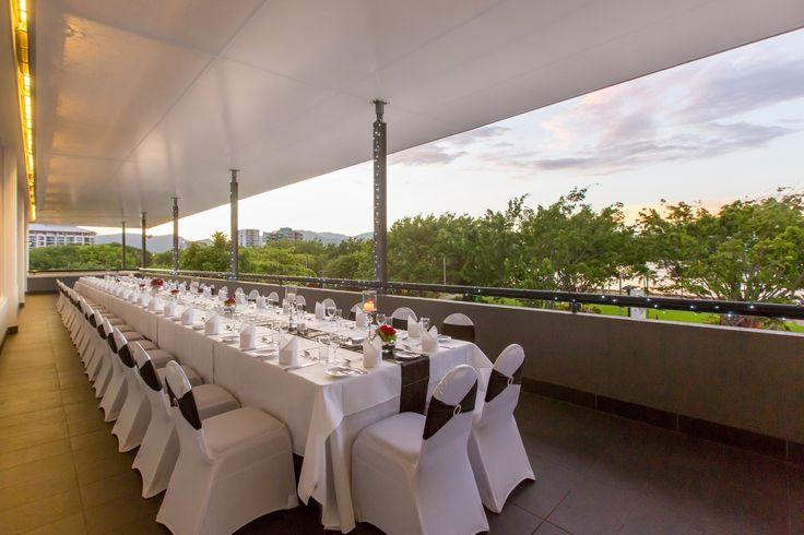 Wedding Reception on the Trinity Balcony at Shangri-La Hotel, The Marina, Cairns. This balcony has a beautiful view of Trinity Bay and Cairns Esplanade.
