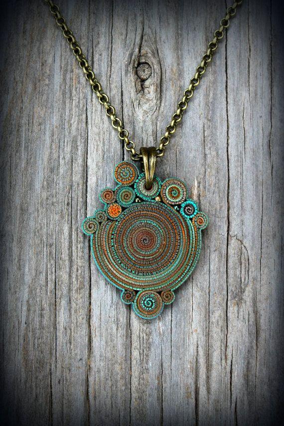 donne Mandala collana boho gypsy gioielli ciondolo tribale terroso blu fascino bohémien istruzione nuova età hippie estate jewel