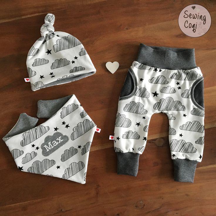 Schnittmuster Mütze Freebook Knotenmütze von Klimperklein - Halstuch Freebook Halstuch von Farbenmix.de - Hose CozyPants von Kid5 - newborn outfit - clouds - sewing - Wolken - Nähen - Baby - Sewing - Pattern - Neugeborene - Babyoutfit - Kliniktasche