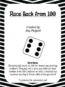 Racing Back from 100: subtraction maths practice freebie from Amy Padgett.