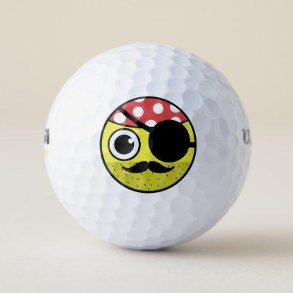 Pirate Face Golf Balls - funny comic style comics geek geeks lol fun cyo
