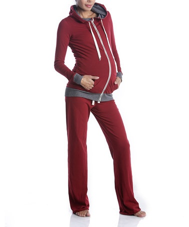 Save Now on this Red Maternity Zip-Up Hoodie & Lounge Pants by Lilac Maternity on #zulily today!