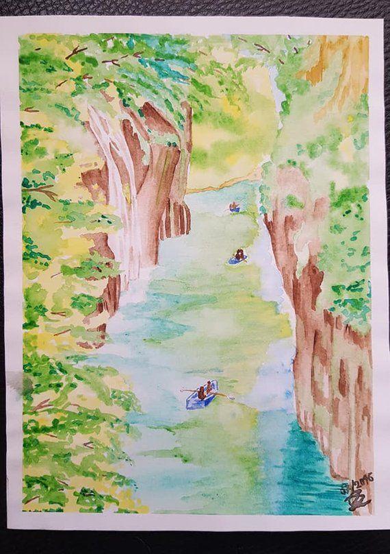 Canyon Aquarelle Original Aquarelle