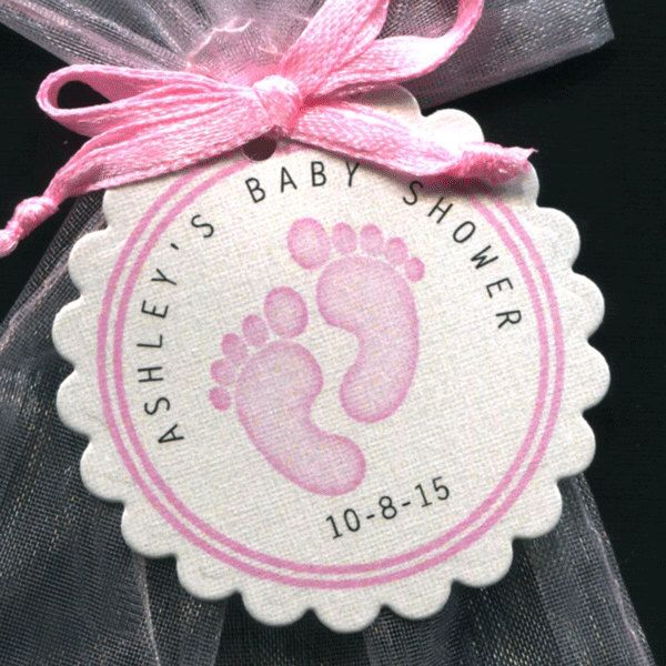 Personalized Baby Girl Baby Shower Favor Tags featuring pink baby feet, set of 50 by susiedees on Etsy https://www.etsy.com/listing/203975561/personalized-baby-girl-baby-shower-favor
