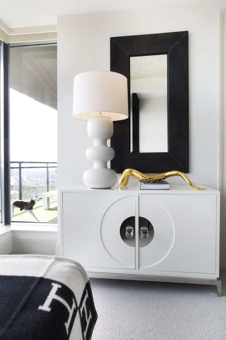 Mirror nightstands contemporary bedroom kimberley seldon design - Hollywood Regency Furniture A Mod White Lamp Atop A White Credenza Hermes Blanket