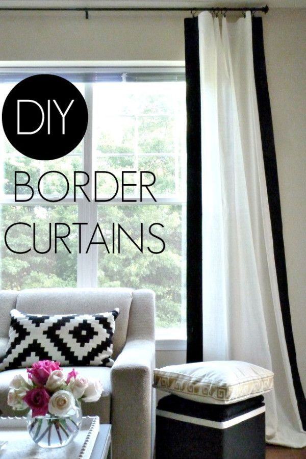 DIY white curtains and black border stripe for living room YES! And color carpet