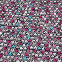 Bavlna šedá, růžovo-modrá srdíčka, š.145