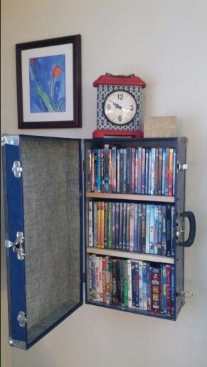 Used One Of My Old Metal Trunks Lying Around As A Decorative Extra Dvd Wall