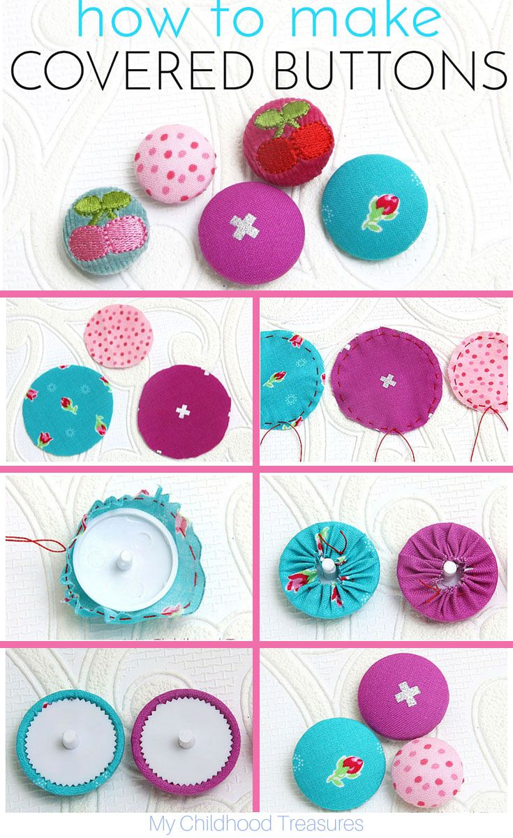 Step by step tutorial on how to make covered buttons.
