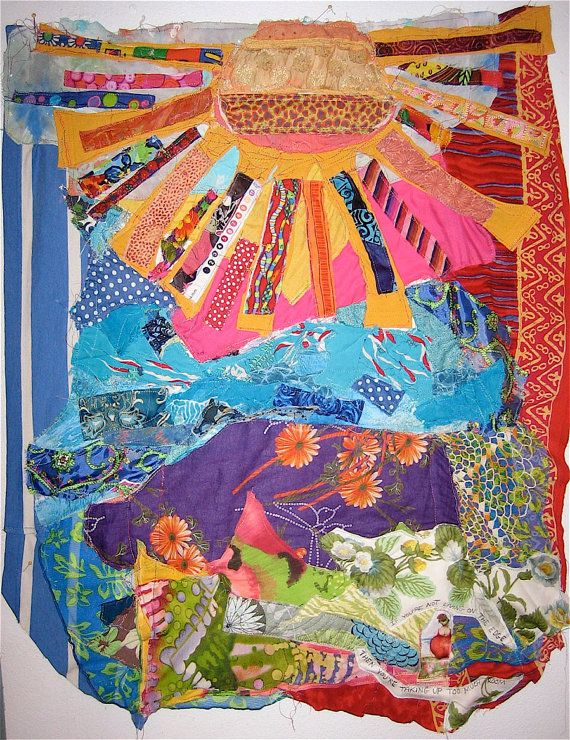 Sunny Amp Bright Lots Of Fabric Collage Quilt Assemblage Art