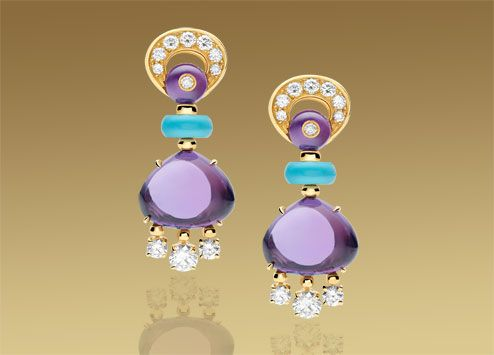 bulgari eden earrings in yellow gold with amethysts turquoises diamonds and pav diamonds jewellery earrings