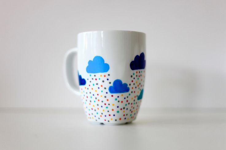 clouds and raindrops polka dot mug
