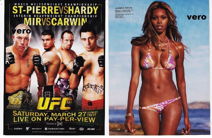 UFC St Pierre vs Hardy - Mir vs Carwin print ad MAUI GIRL swimsuit JESSICA WHITE